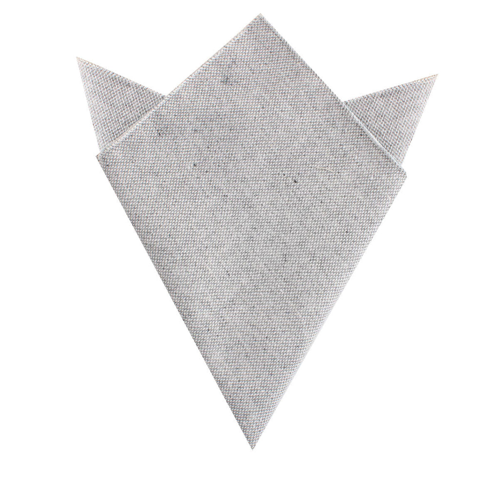 Dry Grey Donegal Linen Pocket Square