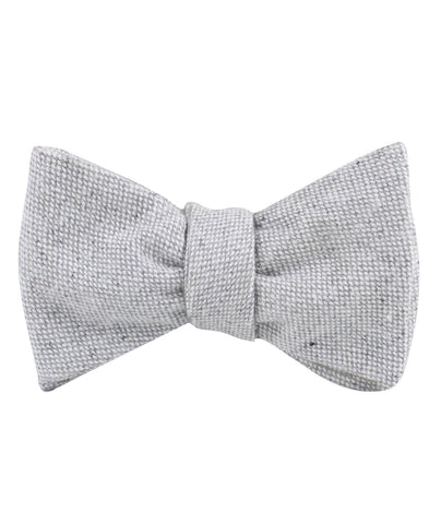 Dry Grey Donegal Linen Self Bow Tie