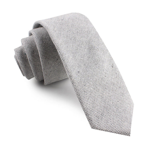Dry Grey Donegal Linen Skinny Tie