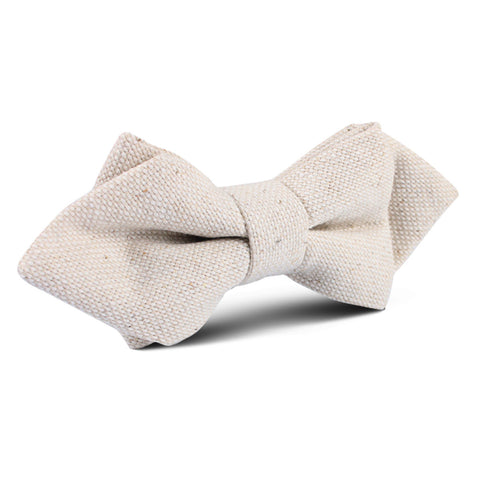 Dry Khaki White Linen Diamond Bow Tie