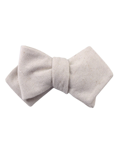 Dry Khaki White Linen Diamond Self Bow Tie
