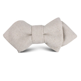 Dry Khaki White Linen Kids Diamond Bow Tie