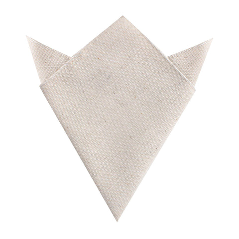 Dry Khaki White Linen Pocket Square