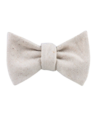 Dry Khaki White Linen Self Bow Tie