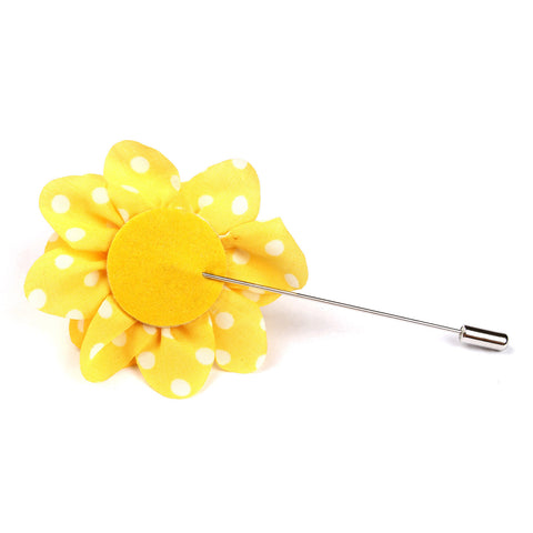 Dunaden Yellow With White Polka Dots Lapel Flower