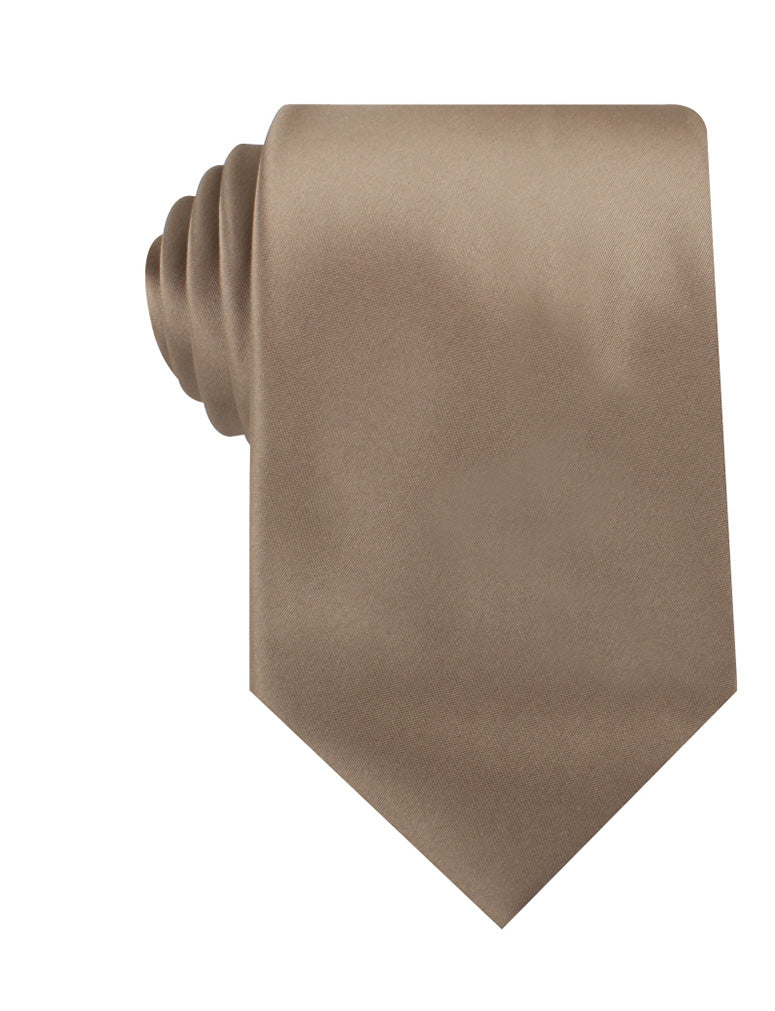 Dune Beige Brown Satin Necktie