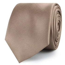 Dune Beige Brown Satin Skinny Tie
