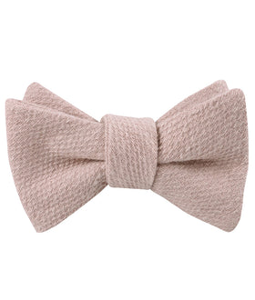 Dusty Beige Pink Linen Self Bow Tie