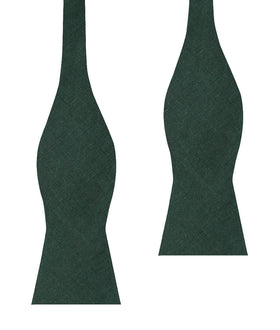 Dusty Emerald Green Linen Self Bow Tie