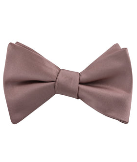 Dusty Mauve Satin Self Bow Tie