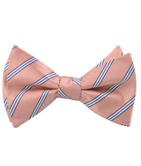 Dusty Peach Copacabana Striped Self Bow Tie