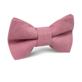 Dusty Rose Pink Linen Kids Bow Tie