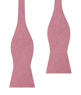Dusty Rose Pink Linen Self Bow Tie