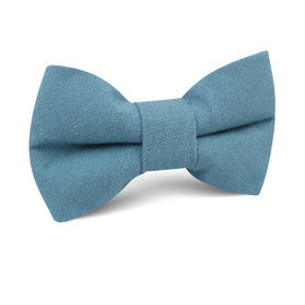 Dusty Teal Blue Linen Kids Bow Tie