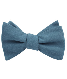 Dusty Teal Blue Linen Self Bow Tie
