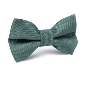 Dusty Teal Blue Weave Kids Bow Tie