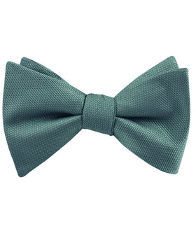 Dusty Teal Blue Weave Self Bow Tie