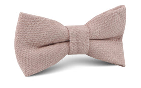 Dusty Beige Pink Linen Bow Tie