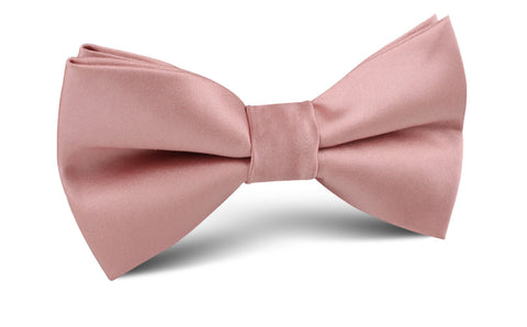 Dusty Blush Pink Satin Bow Tie