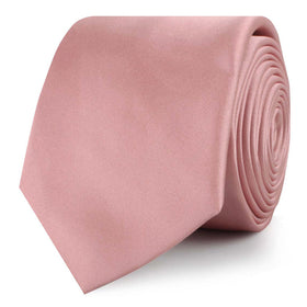 Dusty Blush Pink Satin Skinny Tie