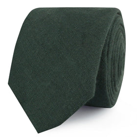 Dusty Emerald Green Linen Skinny Tie