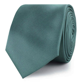 Dusty Jade Green Satin Skinny Tie