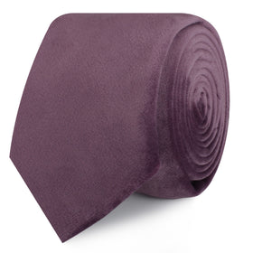 Dusty Lilac Purple Velvet Skinny Tie