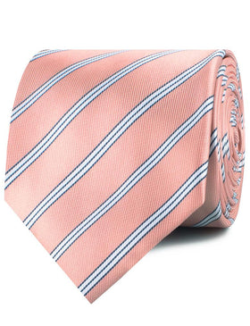 Dusty Peach Copacabana Striped Necktie