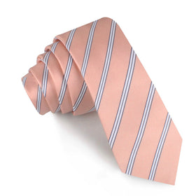 Dusty Peach Copacabana Striped Skinny Tie
