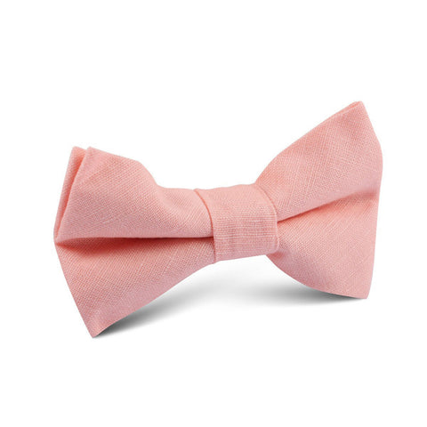 Dusty Peach Slub Linen Kids Bow Tie