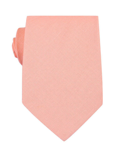 Dusty Peach Slub Linen Necktie