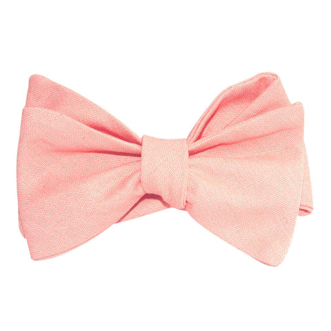Dusty Peach Slub Linen Self Tie Bow Tie