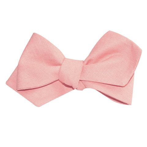 Dusty Peach Slub Linen Self Tie Diamond Tip Bow Tie