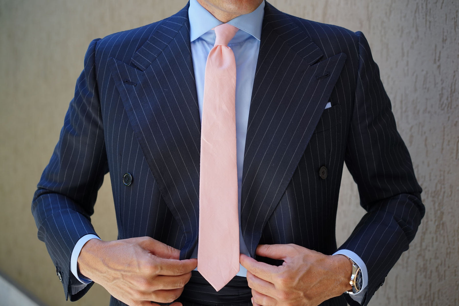 Dusty Peach Slub Linen Skinny Tie