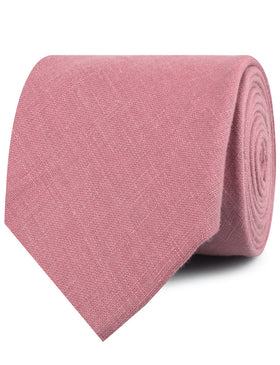Dusty Rose Pink Linen Necktie