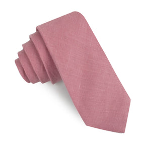 Dusty Rose Pink Linen Skinny Tie