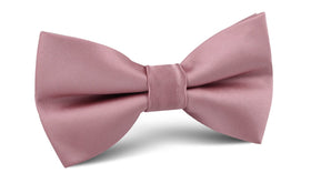 Dusty Rose Pink Satin Bow Tie