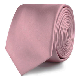 Dusty Rose Pink Satin Skinny Tie