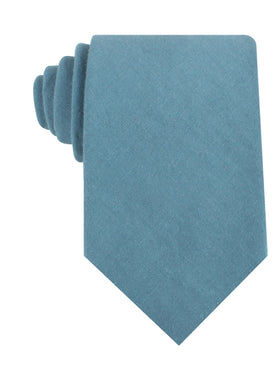 Dusty Teal Blue Linen Necktie