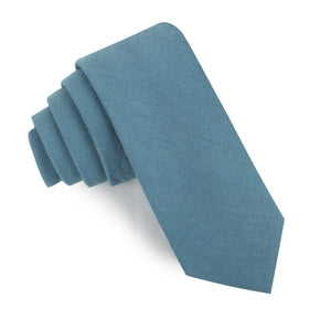 Dusty Teal Blue Linen Skinny Tie