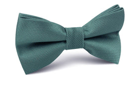 Dusty Teal Blue Weave Bow Tie
