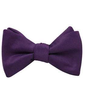 Eggplant Purple Satin Self Bow Tie