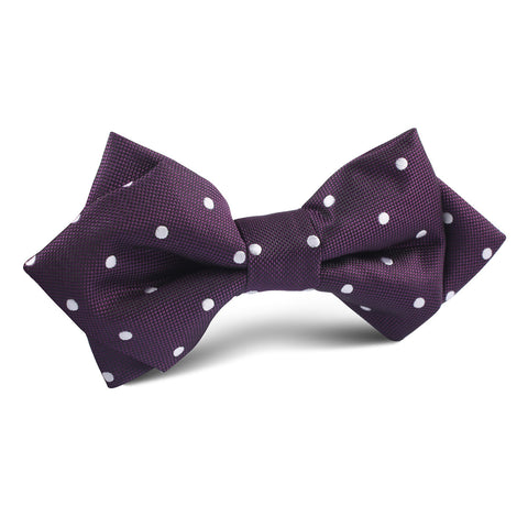 Eggplant Plum Purple with White Polka Dots Diamond Bow Tie