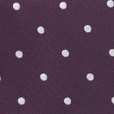 Eggplant Plum Purple with White Polka Dots Fabric Necktie M124