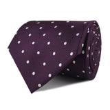 Eggplant Plum Purple with White Polka Dots Necktie Front Roll
