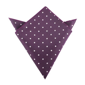 Eggplant Plum Purple with White Polka Dots Pocket Square