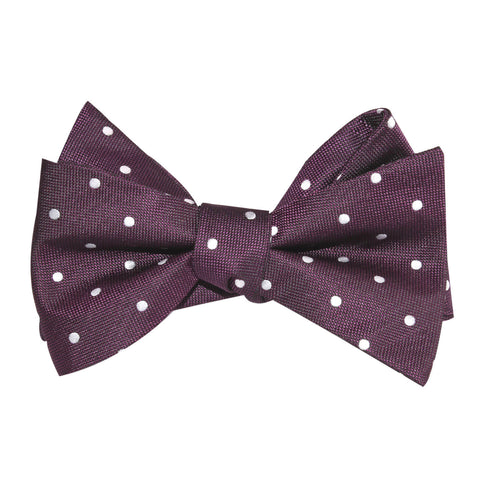 Eggplant Plum Purple with White Polka Dots Self Tie Bow Tie
