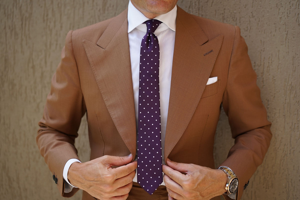 Eggplant Plum Purple with White Polka Dots Skinny Tie