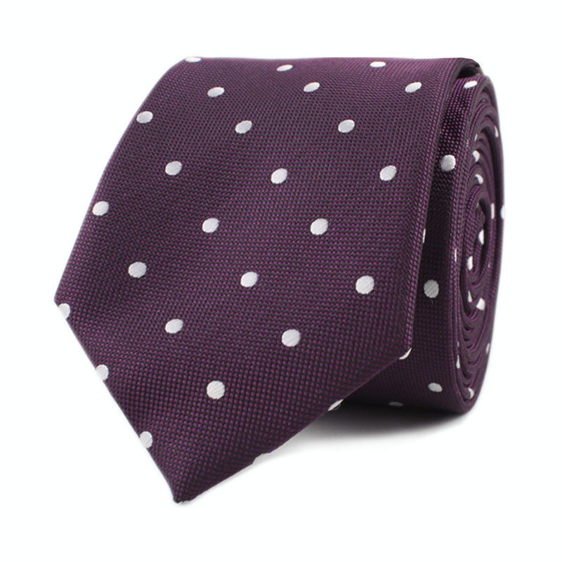 c626704e66783 ... Eggplant Plum Purple with White Polka Dots Skinny Tie Front Roll ...