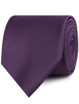 Eggplant Purple Satin Necktie